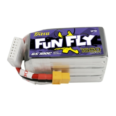 TATTU Funfly 6S1P 22.2V 1550mAh 100C Lipo Battery with XT60 Plug