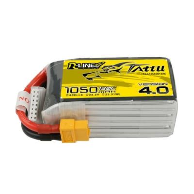 TATTU R-Line V4 6S1P 22.2V 1050mAh 130C Lipo Battery with XT60 Plug