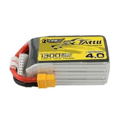 TATTU R-Line v4 6S1P 22.2V 1300mAh 130C Lipo Battery with XT60 Plug