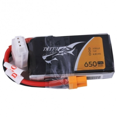 TATTU 2S1P 7.4V 650mAh 75C Lipo Battery with XT30 Plug
